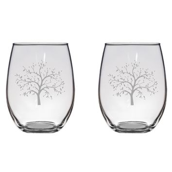 Olive Tree Engraved Glasses, Flutes, Pint Glass, Mason Jar Free Personalization