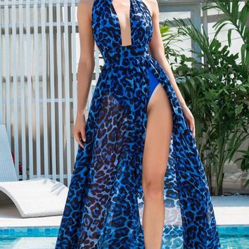 Cat's Meow Blue Leopard Pattern Sleeveless Backless Halter Plunge V Neck High Slit Casual Maxi Dress