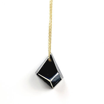 Black Geometric Necklace 1 - Geometric Jewelry, Geometric Jewellery, Faceted Necklace, Black Jewelry, Clay Jewelry