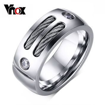 2016 New Men's Ring Stainless Steel Punk Rock Ring With Wire Cubic Zirconia Party Jewelry USA Size