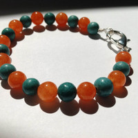 Beaded jade bracelet- Orange and blue jade beaded bracelet