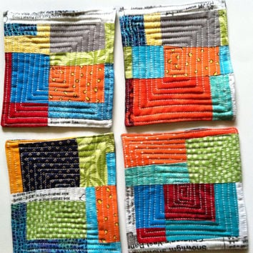 Quilted Improv Coasters Color Blocks