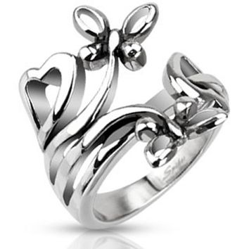 Extruding Nature of Butterflies and Hearts Ring Stainless Steel