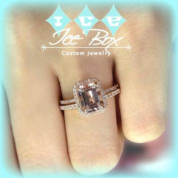 Morganite Engagement Ring and Matching Band  2.1ct Emerald Cut in a 14k Rose Gold Diamond Halo setting
