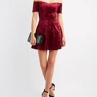 Velvet Off-The-Shoulder Skater Dress