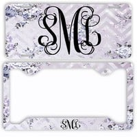 White Marble Look License Plate Car Tag Monogram Frame Personalized Set Custom Initials Car Coasters Faux Glitter Sparkle Floral Chevrons