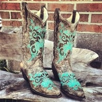 Turquoise Studded Boots
