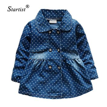Newest Denim Baby Girls Dress Autumn Long Sleeve Dot Dress Baby Girls Robe Fille Lapel Bow Princess Dress For Newborn Clothing