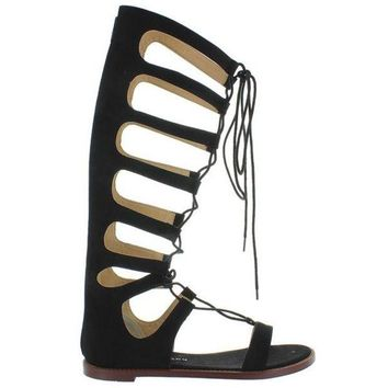 VONES2C Chinese Laundry Galactic - Black Micro Suede Tall Gladiator Sandal