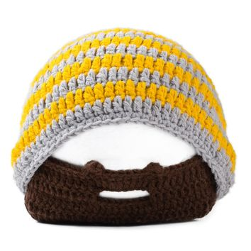 Handmade Knitted Crochet Beard Hat Bicycle Mask Ski Cap roman knight octopus Cool Funny beanies Gift