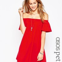 ASOS PETITE Off Shoulder Mini Dress at asos.com