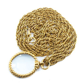 Authentic Vintage Chanel Goldtone Chain Magnifying Glass Long Necklace & box