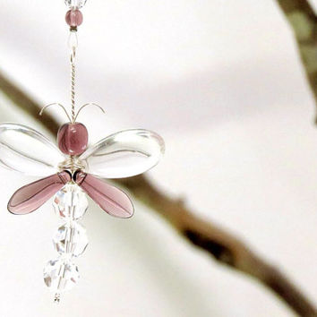 Chirstmas Gift Purple Dragonfly Suncatcher Kids Gift Xmas Ornament Rear View Mirror Charm Hanging Crystal Swarovski Women Car Accessories