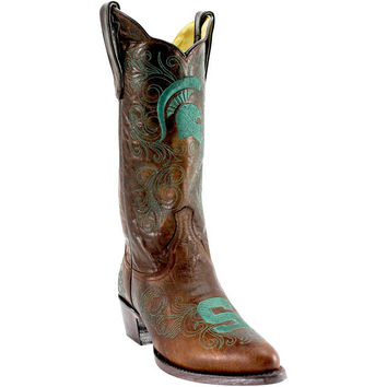 "Women's Brown Michigan State Spartans 13"" Embroidered Boots"