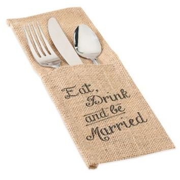 """Lillian Rose™ """"Eat, Drink and Be Married"""" Burlap Silverware Holders (Set of 4)"""