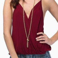 Wine Red Spaghetti Strap Chiffon Tank Top
