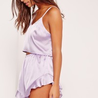 Missguided - Cropped Cami Pyjama Set Purple