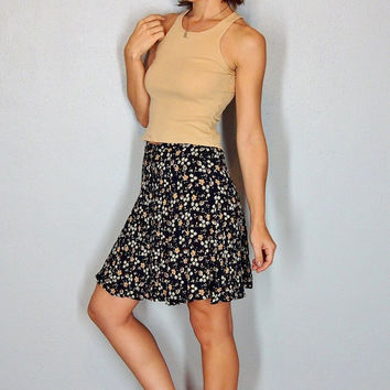 Floral Mini Skirt, Button Up HIGH WAIST Skirt, Black and Tan, XS Small boho hippie gypsy