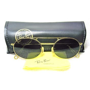Ray-Ban USA *NOS Vintage *B&L Oval Arista W1696 Pinpoint Etched *NEW Sunglasses