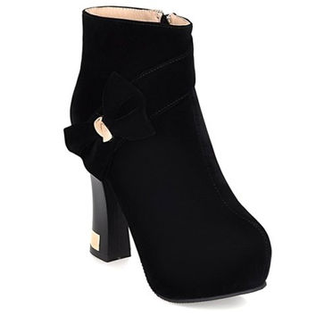 Fresh Style Women's Ankle Boots With Bowknot and Zipper Design
