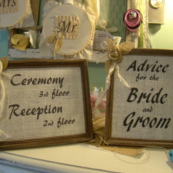 Custom Wedding Signs, Burlap Wedding Sign, Wedding, Reception Decor, Rustic, Burlap, Distressed Frame, Country Barn Wedding