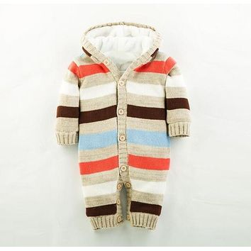 Infant Clothing Color stripes cotton knit long sleeve Jumpsuit velvet Baby Romper New Born Baby boys and girls clothes