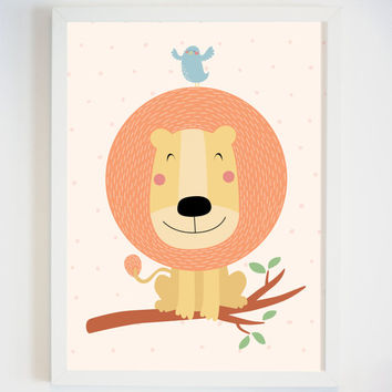 Lion Art Print for Baby's Room - Smiling Lion Ped Office Decor - Animal Art for Baby Nursery Wall - Cute Animal Art -Safari Animal Art Print