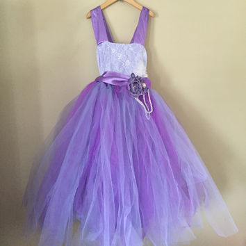 "The ""Annabelle"" Purple Lace Vintage Rustic Tutu Dress Custom"