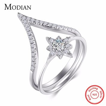 Modian 100% 925 Sterling Silver Water Drop Sun Flower Ring Fashion Simple Clear CZ Finger Rings For Women Party Wedding Jewelry