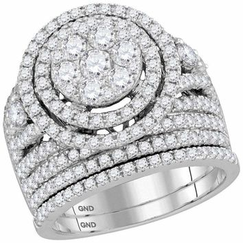 14kt White Gold Women's Round Diamond Flower Cluster Halo Bridal Wedding Engagement Ring Band Set 2-3-4 Cttw - FREE Shipping (US/CAN)