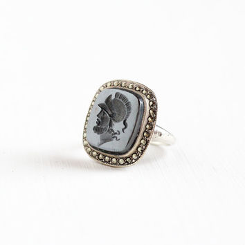 Vintage Art Deco Sterling Silver Intaglio Warrior Hematite & Marcasite Ring - Roman Soldier 1930s Size 4.5 Metallic Gray Gemstone Jewelry