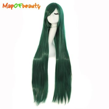 MapofBeauty 100cm 40 inch Dark green Long straight Cosplay wig costume party women synthetic hair Heat Resistant peruca