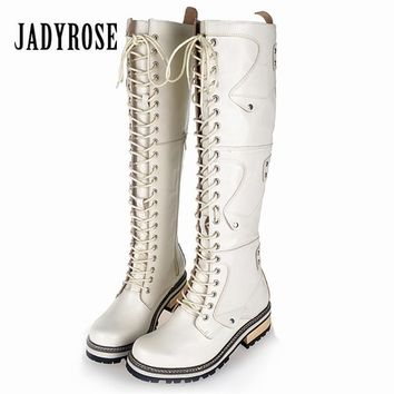 Jady Rose 2018 New White Winter Warm Boots Lace Up Genuine Leather Women Knee High Boots Female Platform Rubber Knight Boot