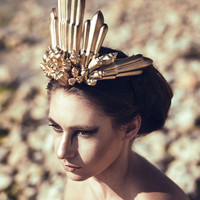 Golden Gold Siren Mermaid Beach Shell Nautical Sea Ocean Couture Crown Head Band Piece Gothic Bridal Wedding Ricky Lindsay