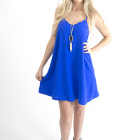 Women's Royal Blue Scalloped Halter Dress