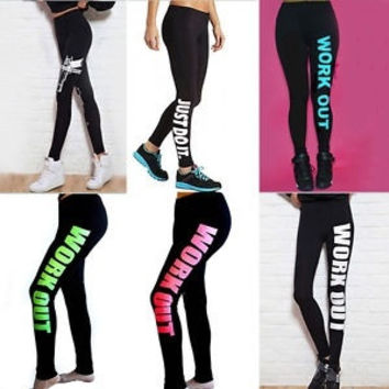 Women's Gym Sports Workout Pants Compression Legging Trousers Black Ladies Slim Leggings = 1933145284
