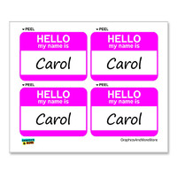 Carol Hello My Name Is - Sheet of 4 Stickers