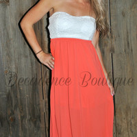 CUT IT OUT CHFFON & LACE CORAL MAXI DRESS