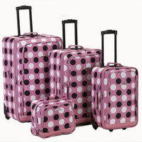 Rockland Luggage 4PC Set Suitcases Rolling Expandable Pink Dot Print F106