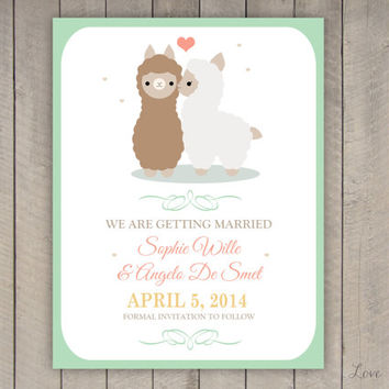 Personalized Save the Date for a wedding - lama