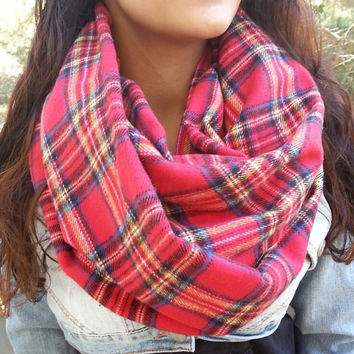 Red Plaid Infinity scarf, Warm Boho Infinity Scarf, Neutral infinity