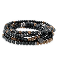 Matte Black Glass Bead Stretch Bracelets | Odeon Stretch Bracelets | Stella & Dot