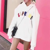 """Supreme"" Rainbow Logo Letter Embroidery Loose Long Sleeve Hooded Pullover Sweater Sweatshirt Tops"