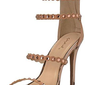 Qupid Womens Single Sole Rhinestones Heeled Sandal