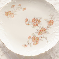 Antique Peach Floral Lanterier Limoges Dessert Plates, Set of 4, Tea Party, Cottage Style, French Shabby Chic, Ca. Late 1800's