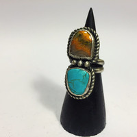 Bumble Bee Jasper & Turquoise Ring; turquoise ring; bumble bee jasper ring; statement ring; handmade ring; silversmith; sterling silver ring