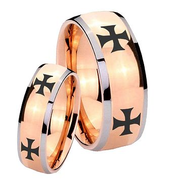 His and Hers 4 Maltese Cross Dome Rose Gold Tungsten Mens Wedding Band Set