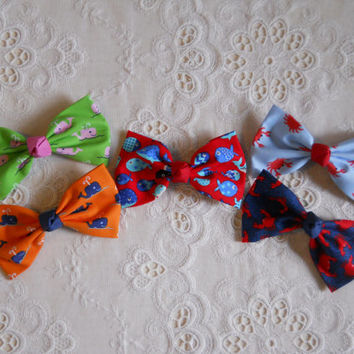 Preppy Nautical Whale Crab Fish Fabric Hair Bow Barrette - Large in 5 Prints