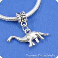 Brontosaurus European Dangle Bead Charm - Silver Brontosaus Dinosaur Charm for European Bracelet