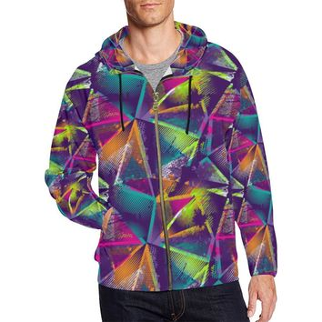 Colorful Prism Triangles Design 1 Men's All Over Print Full Zip Hoodie